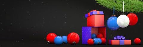 Composition avec la décoration de jouets et la boîte de magie Photos stock