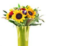 Composition avec le bouquet des fleurs d'isolement sur le blanc Images stock