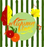 Composition avec le lettrage de main du texte Autumn Time illustration de vecteur