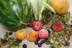 Composition avec les fruits, fruits sur la table Fruits frais d'été sur le Tableau en bois Photo libre de droits