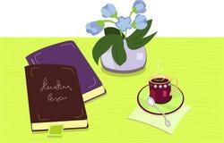 Composition avec les livres et la cuvette de coffe Images stock