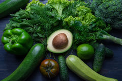 Composition with avocado and vegetables Royalty Free Stock Image