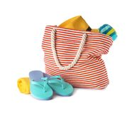 Composition with bag and beach accessories. On white background stock photography