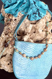 Composition with a bag, stone and beads Stock Image