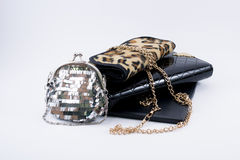 Composition of bags and golden chain Royalty Free Stock Photography