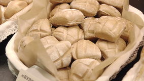 Composition with baking products including. Different sorts of bread and rolls stock video