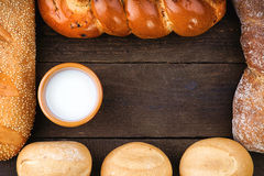 Composition with baking products with milk cup Stock Photography