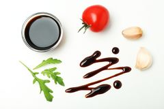 Composition with balsamic vinegar isolated on white. Top view royalty free stock photos