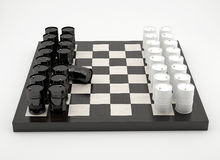 Composition with barrels on chessboard. Composition with barrels on glossy chessboard Royalty Free Stock Photography