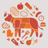 Composition with bbq silhouettes Stock Photography