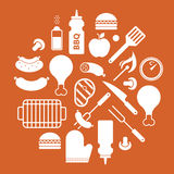 Composition with bbq silhouettes Royalty Free Stock Photo