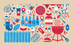 Composition with bbq symbols Stock Photos