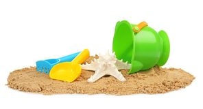 Composition with beach objects. On white background stock photography