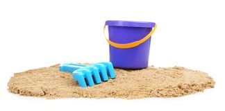 Composition with beach objects. On white background royalty free stock photo