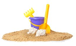 Composition with beach objects. On white background royalty free stock images