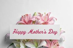 Composition with beautiful blooming lily flowers and card on white stock photos