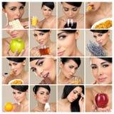 Composition of beautiful brunette portraits Stock Image