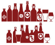 Composition with beer silhouettes Royalty Free Stock Images