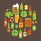 Composition with beer silhouettes Royalty Free Stock Photos