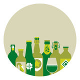 Composition with beer silhouettes Stock Photography