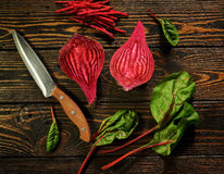 Composition with beet. Food composition with beet and knife Stock Photography