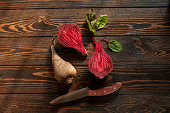 Composition with beet. Food composition with beet and knife Royalty Free Stock Images