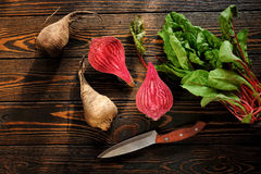 Composition with beet. Food composition with beet and knife Stock Image
