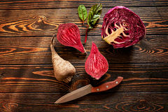 Composition with beet. Food composition with beet and knife Royalty Free Stock Image