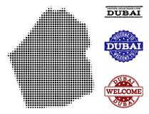 Composition bienvenue de la carte tramée de l'émirat de Dubaï et des timbres grunges illustration de vecteur