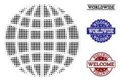 Composition bienvenue du globe tramé et des timbres rayés illustration stock