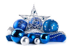 Composition of the blue christmas balls and star royalty free stock photo
