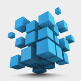 Composition of blue 3d cubes Stock Photography