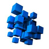 Composition of blue 3d cubes. Vector illustration royalty free illustration