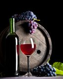 Composition of blue grape and red wine Royalty Free Stock Image