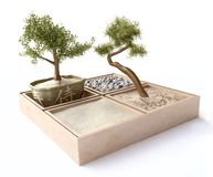 Composition with Bonsai Trees in Japanese Style Stock Photos