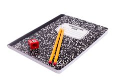 Composition Book. School Supplies - Composition Book, 2 Pencils and a Sharpener Royalty Free Stock Photo