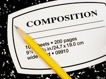 Composition book and pencil. Notebook and pencil royalty free stock image