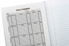 Composition Book School Schedule Stock Photo