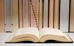 Composition with books. Composition with hardcover books on table Royalty Free Stock Images