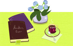 Composition with books and cup of coffe Stock Images