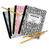 Composition Books & Pencils. Detailed  illustration of pencils on top of Composition Books Stock Photos