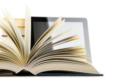 Composition with books and tablet computer isolated on white Stock Image