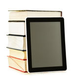 Composition with books and tablet computer on white Stock Photography