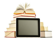Composition with books and tablet computer on white Royalty Free Stock Image