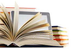 Composition with books and tablet computer on white Royalty Free Stock Images
