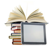 Composition with books and tablet computer on white Stock Image