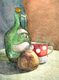 Bottle, cap and apple - watercolor. Composition with the bottle, cap and apple - watercolor painting Royalty Free Stock Image