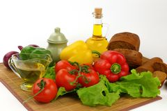 Still life with olive oil and vegetables Royalty Free Stock Photography