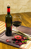 Composition of a bottle of wine  Stock Image