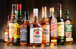 Composition with bottles of popular whiskey brands Royalty Free Stock Photo